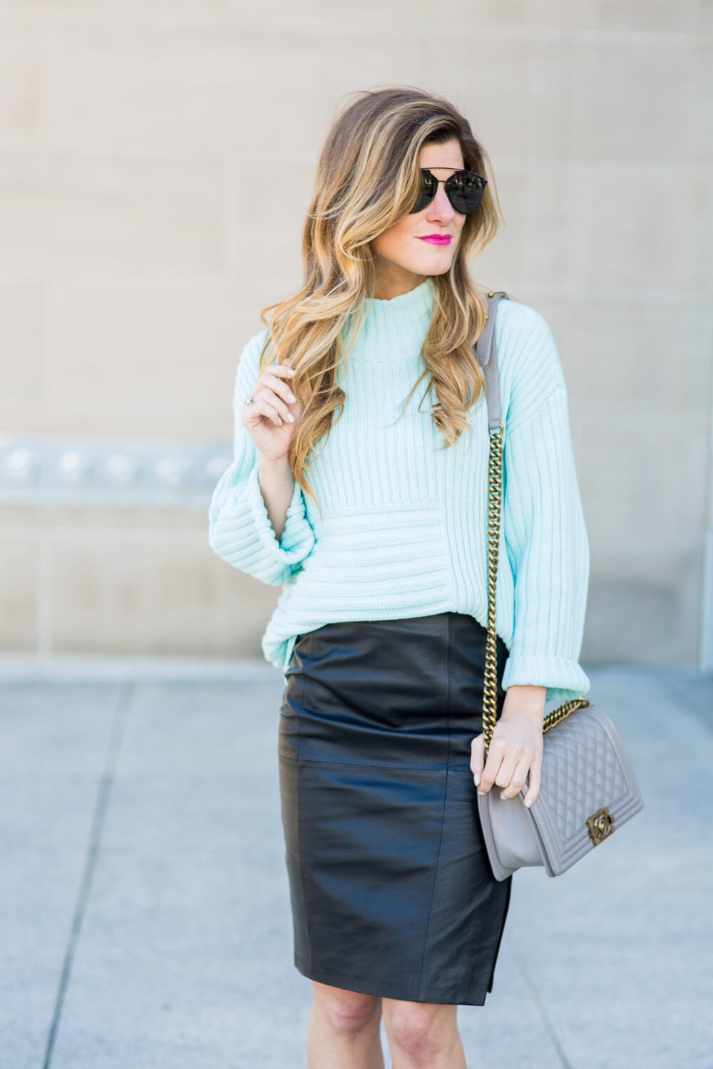 Black Leather Pencil Skirt Outfit // How To Style a Leather Pencil ...