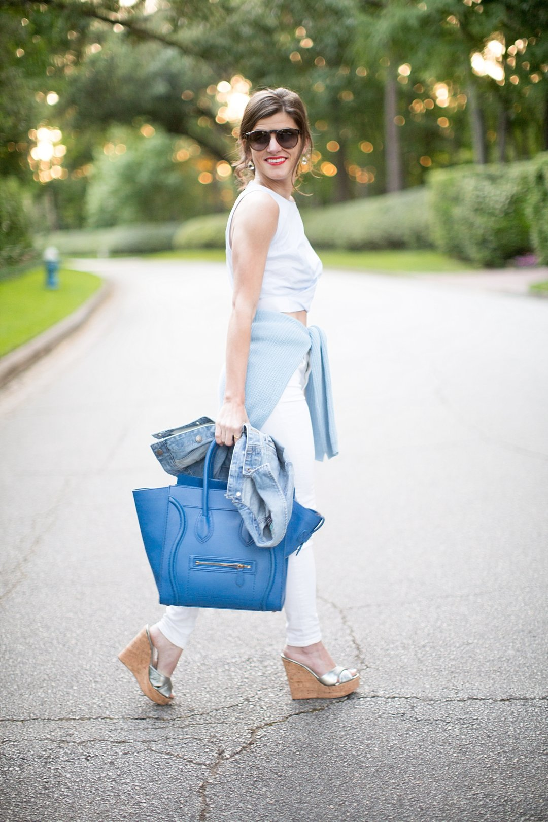 White Skinny Jeans + Zara Crop Top + Silver Summer Cork Wedges + Blue Celine + shades of blue summer outfit 9