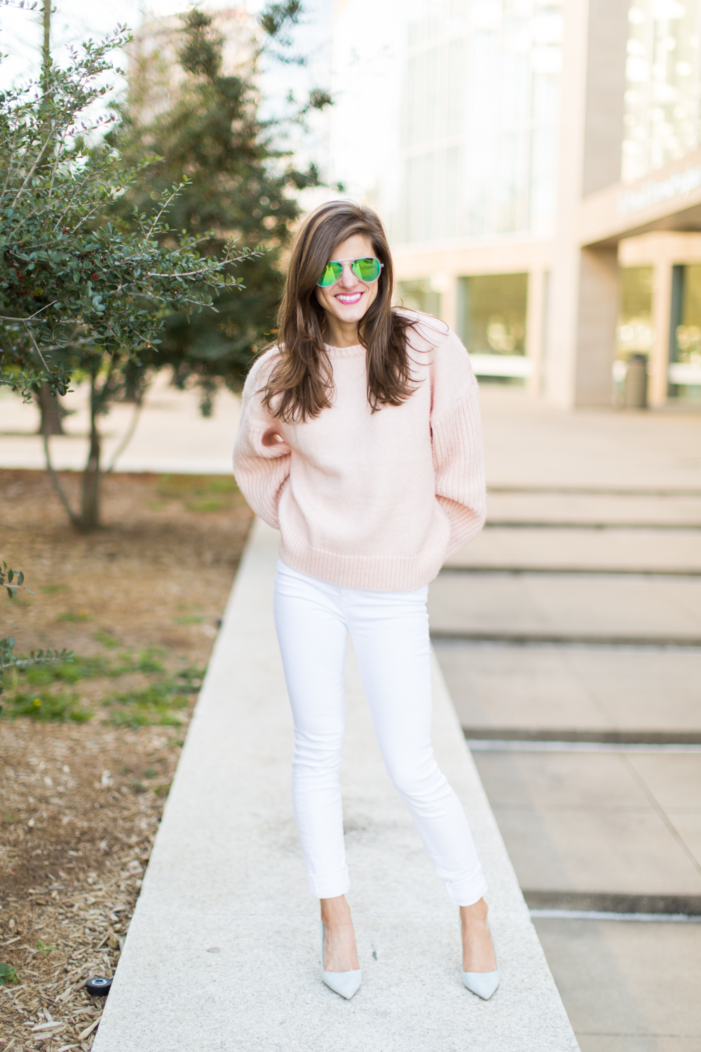 white jeans outfit, white jeans after labor day outfit, winter white jeans outfit, pastel pink and and blue outfit, oversized blush pink sweater with white jeans and stilettos, casual chic outfit