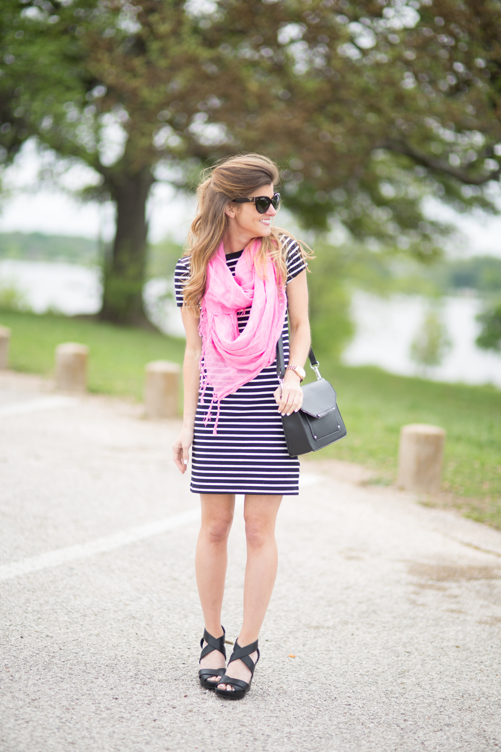 black and white striped dress pink lightweight scarf black wedge sandals black leather & Striped Dress Outfit Ideas - 3 Ways To Style a Striped Dress