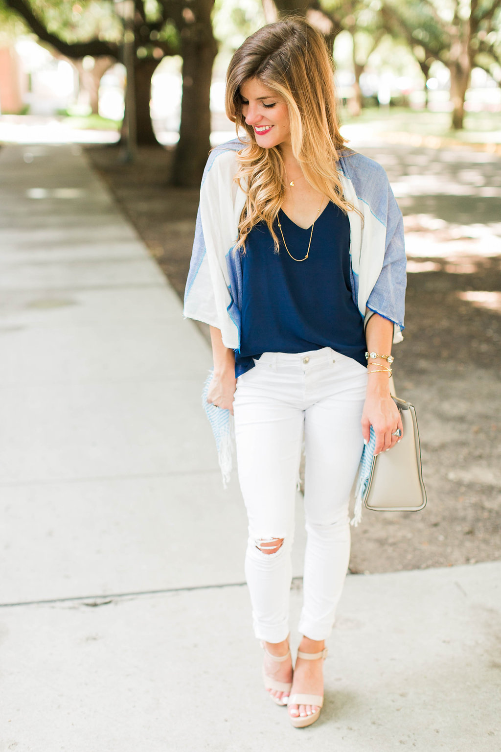 summer poncho over navy tank