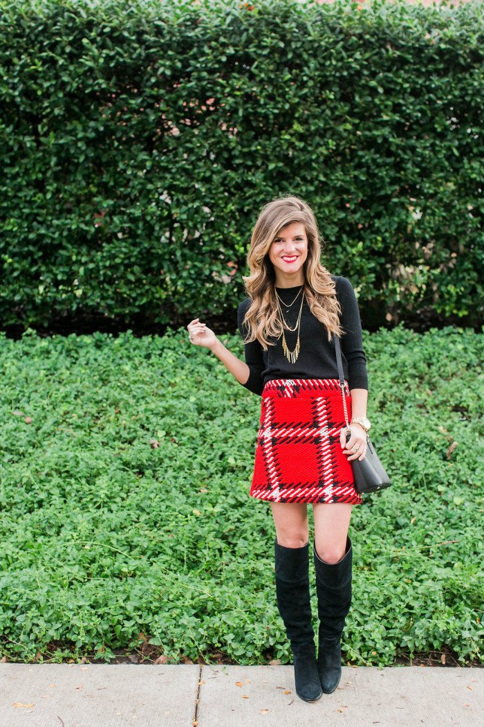 aa1664555 Holiday Party Outfit Idea: Plaid Mini Skirt