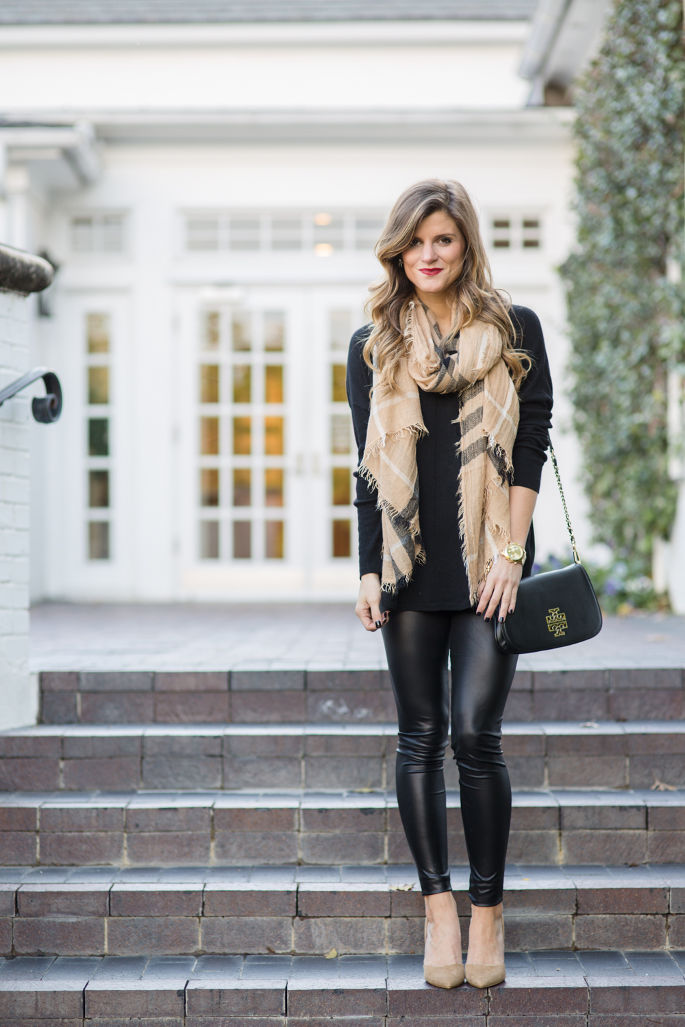 Faux Leather Leggings Winter Date Night Outfit all black outfit tan and black outfit fall ...