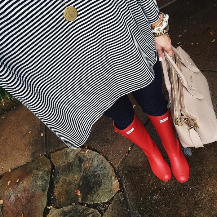 Red Hunter Boots + Stripes