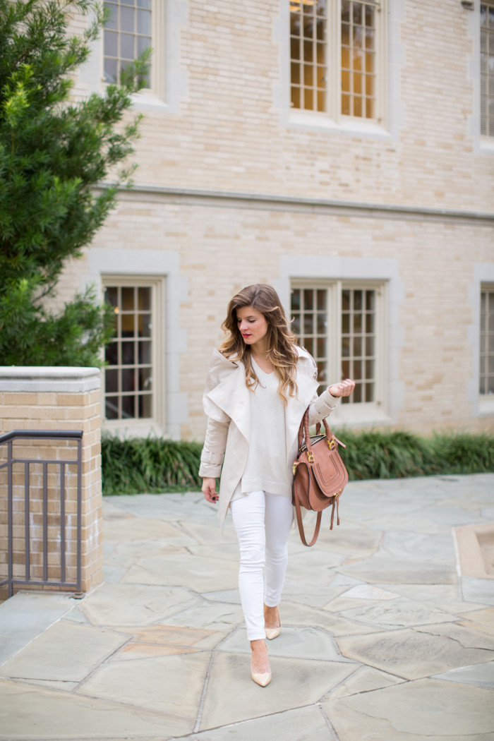 Winter White Look with white jeans cream sweater chloe bag nude patent pumps -103 14666553e