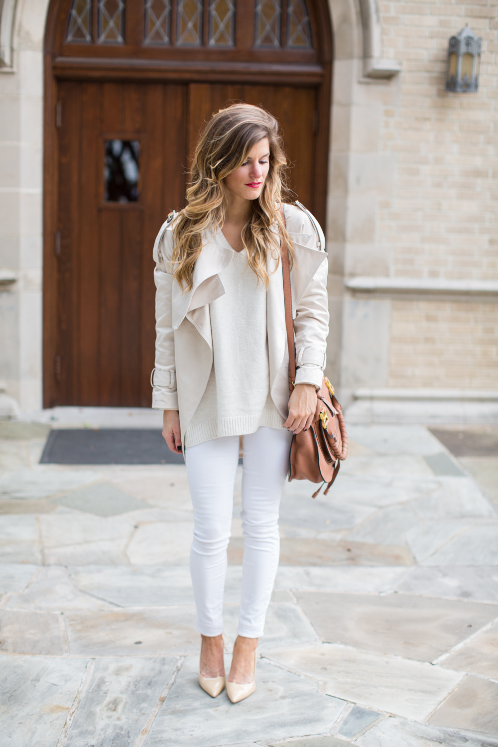 Winter White outfit with white jeans cream sweater chloe bag nude patent pumps
