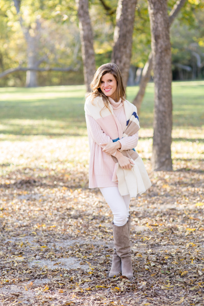 blush sweater with blanket scarf-29