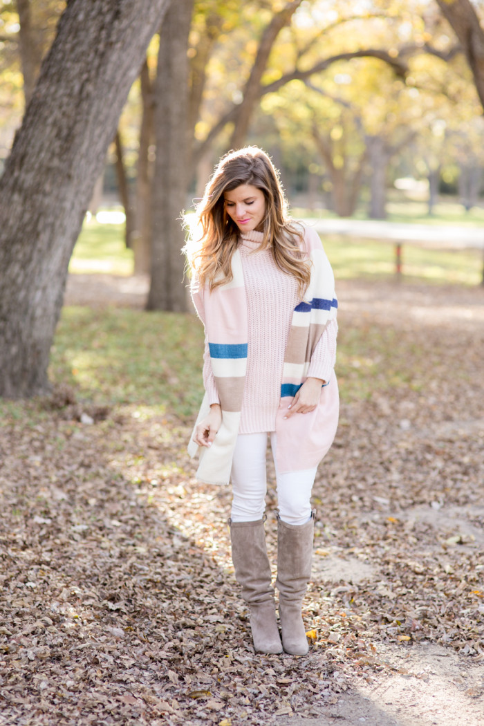 blush sweater with blanket scarf-32
