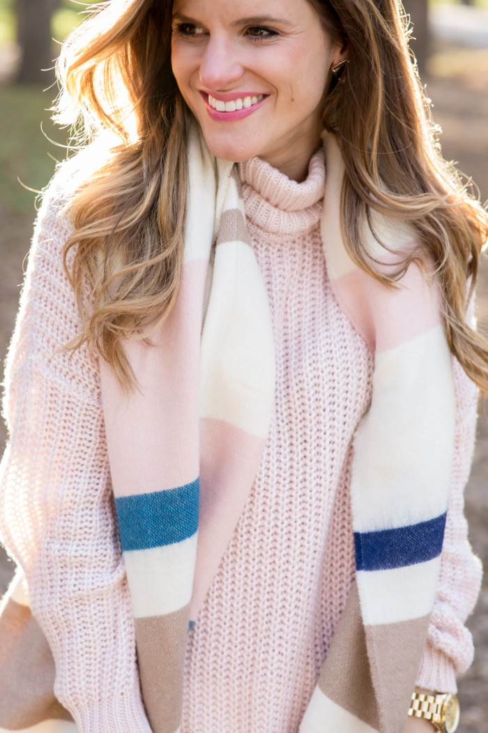 blush sweater with blanket scarf-46