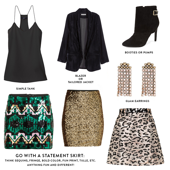 new years eve party outfit with statement skirt and simple black tank