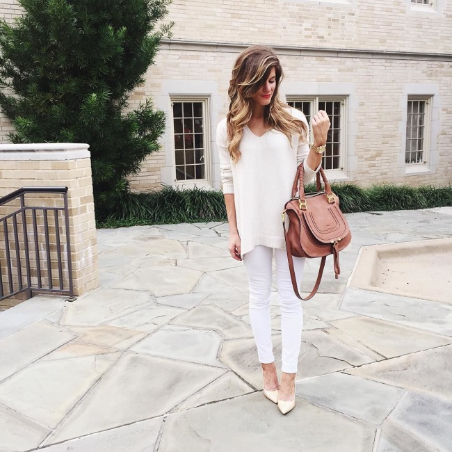 cream sweater white pants nude pumps all white winter outfit