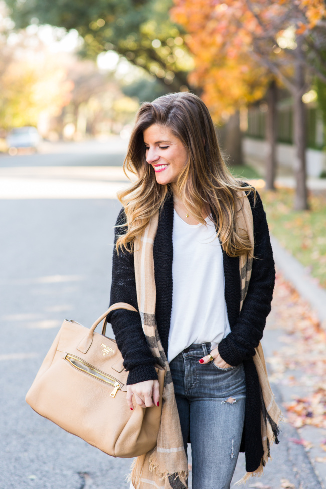 grey jeans, cream sweater, black cardigan, tan scarf casual everyday fall outfit