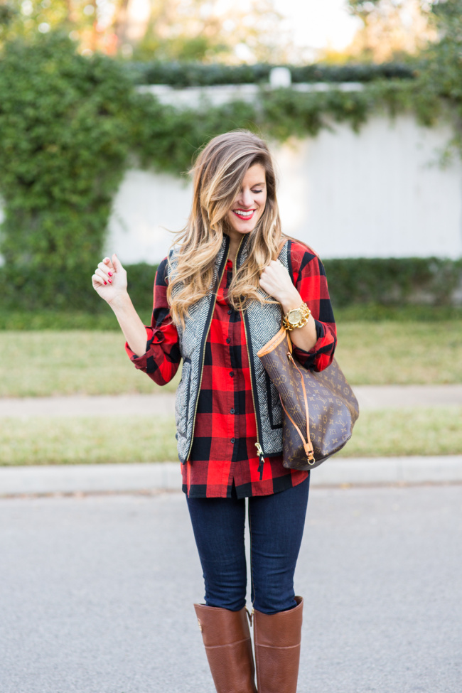herringbone puffer vest, buffalo plaid, tory burch riding boots, fall outfit, casual outfit, ysl glossy lip stain no.9