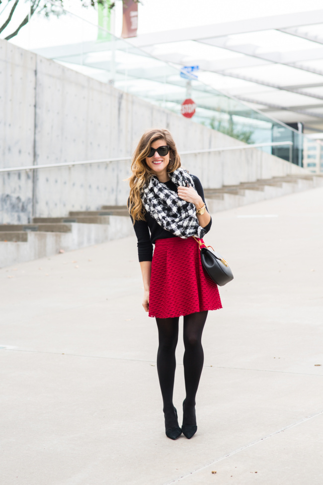 red skater skirt with tights black and white check scarf brightontheday winter outfit 32