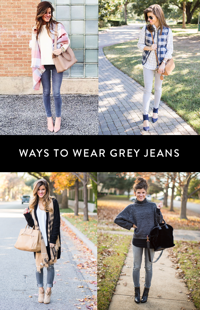 what to wear with grey jeans, ways to wear grey jeans, grey jean outfit