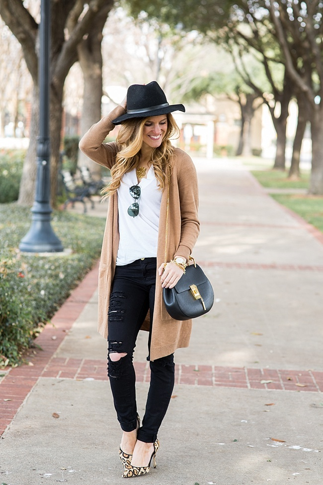 brightontheday wearing long camel cardigan, chloe drew bag, black fedora hat, leopard heels