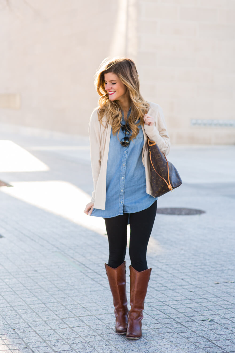 jean shirt + leggings + cardigan