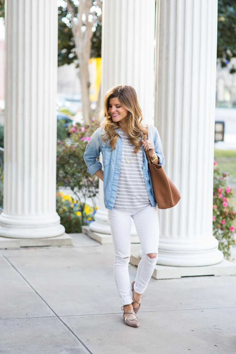 Brightontheday layering denim shirt with striped tee and white jeans