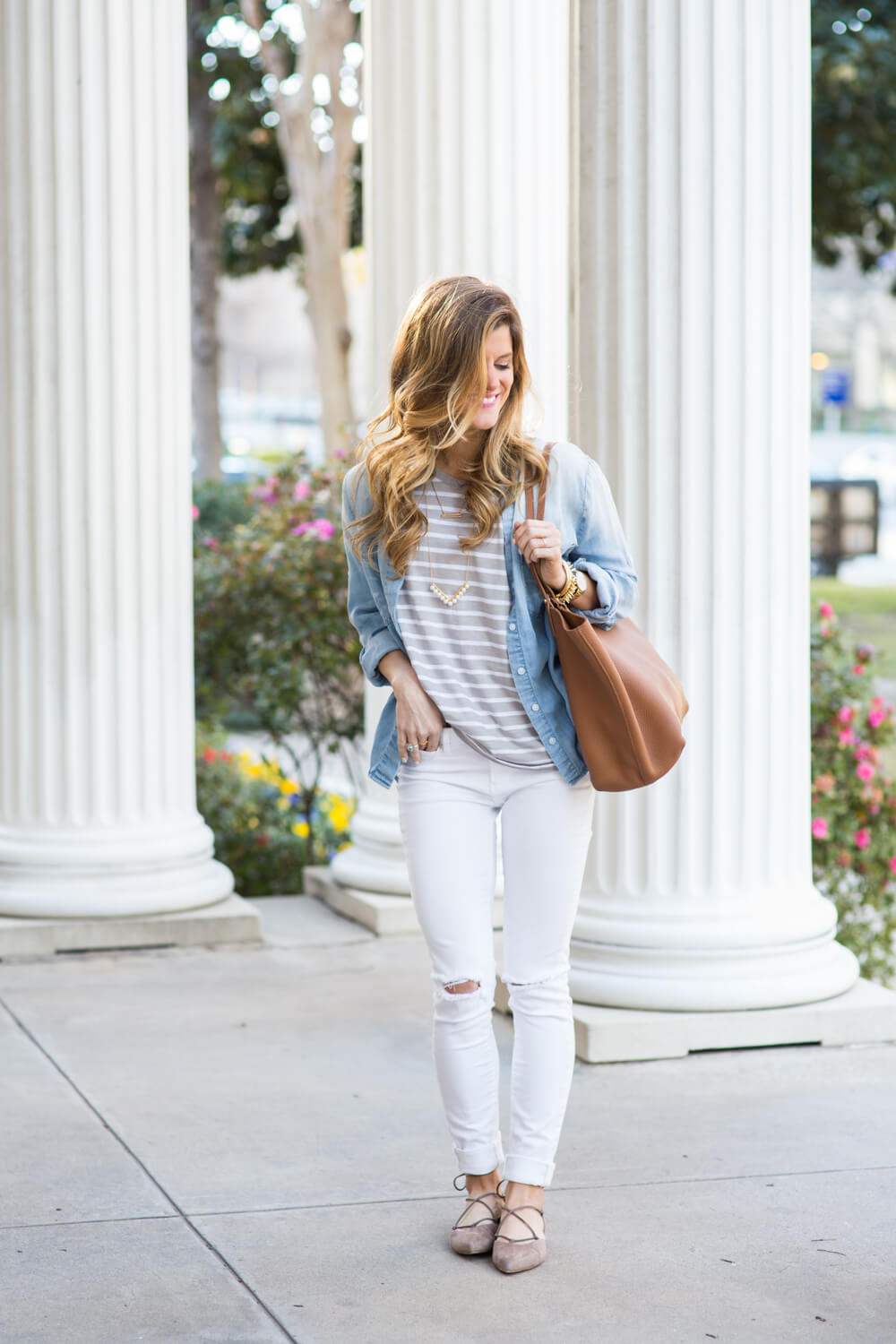 white jeans, neutral stripes, gigi new york tori tote cognac tote, stripes and white jeans, white jeans outfit, stuart weitzman taupe suede pointed toe flats, neutrals outfit, white jeans outfit, transitional style, chambray worn as jacket, chambray shirt outfit, how to wear a chambray shirt, denim shirt with striped tee