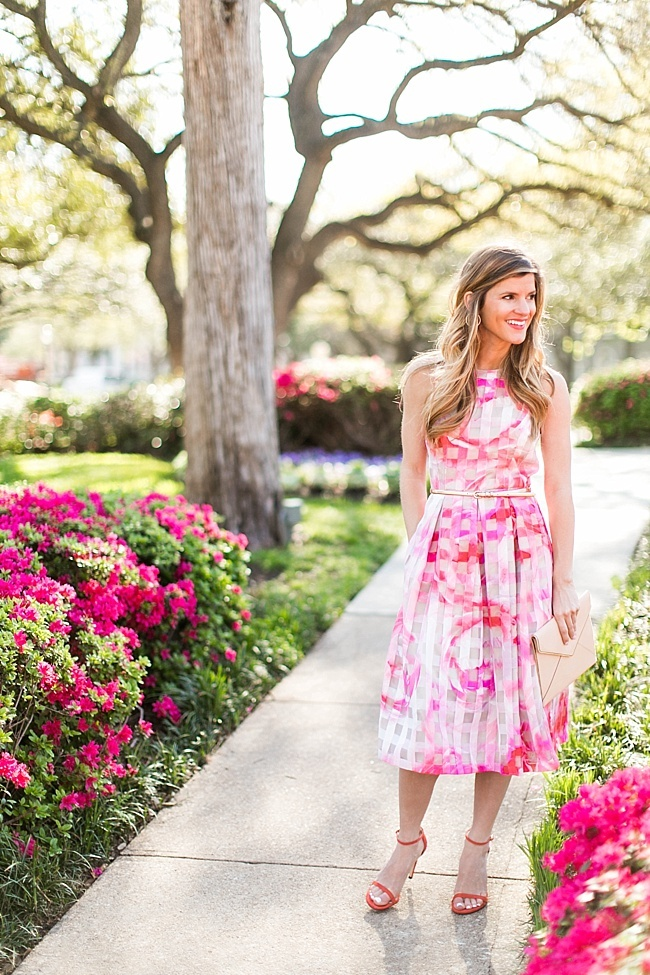 Brighton the day styling floral fit and flare dress with red sandals