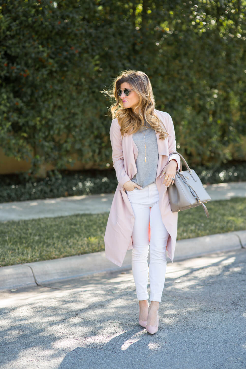 blush duster + grey sweater + white jeans + blush pumps +dior sunglasses