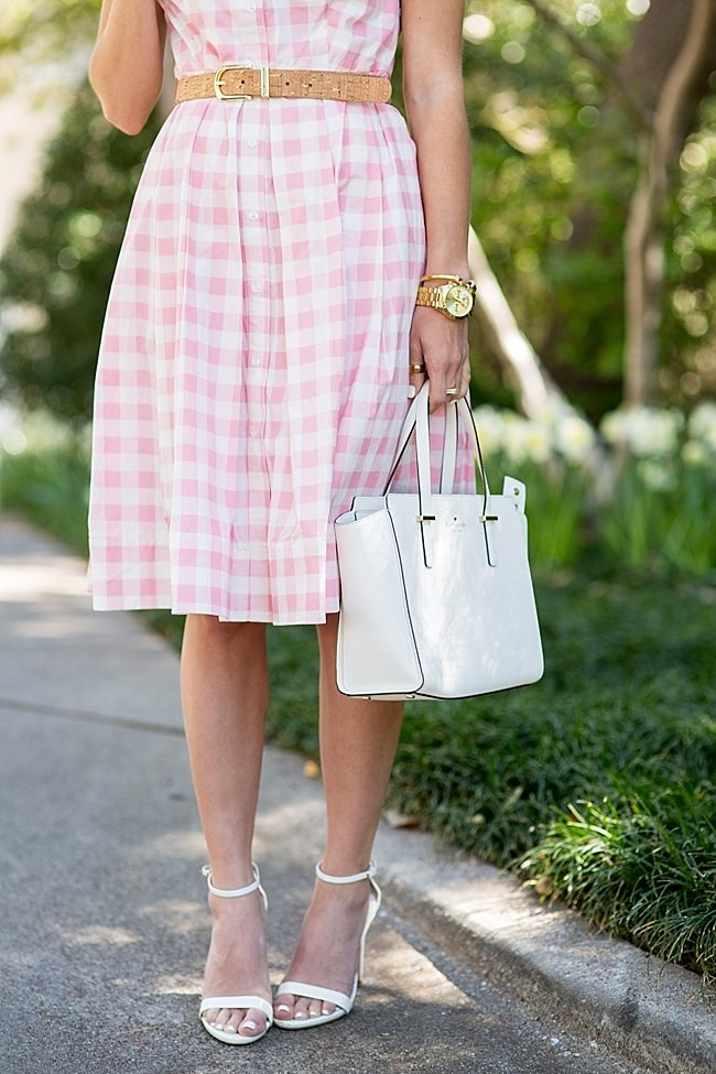 brighton the day pink and white gingham midi dress 16