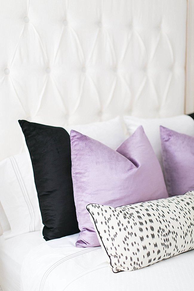 brighton keller bedroom pillow details lavender velvet kelly wearstler les touches pillow