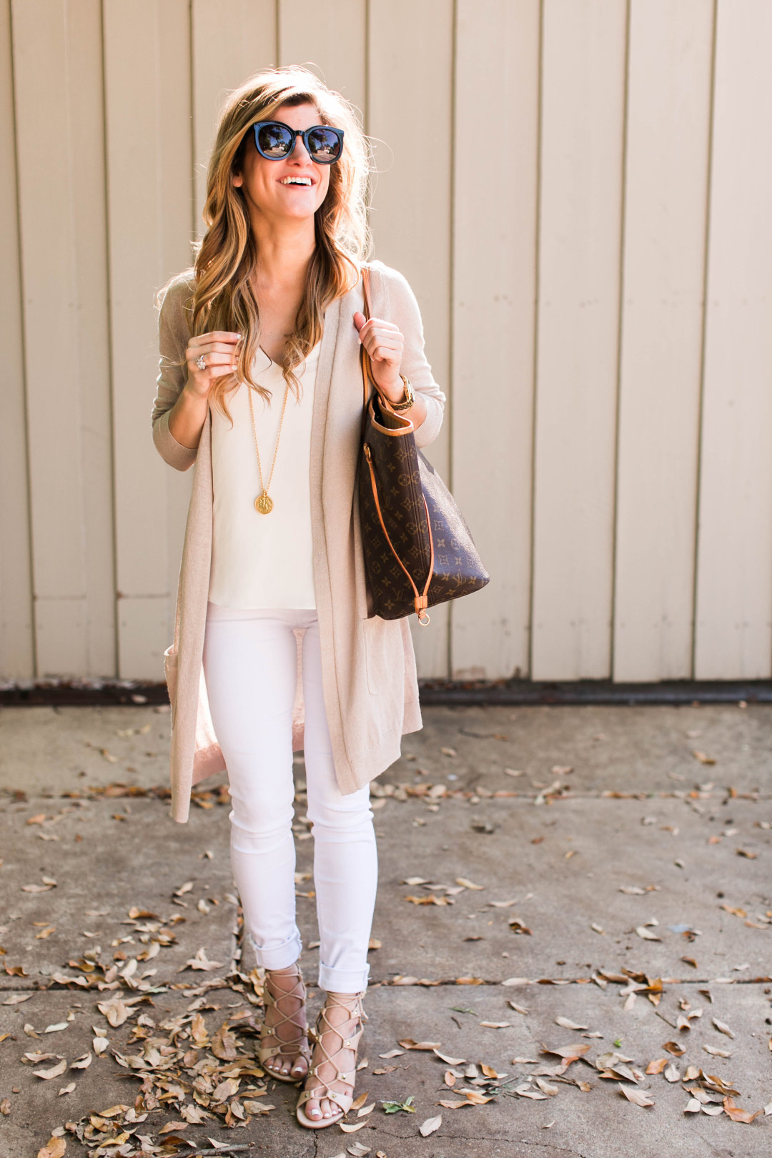 hudson white jeans + toyshop camisole + halogen long cardigan + ivanka  trump lace up sandals 50f2e76e4