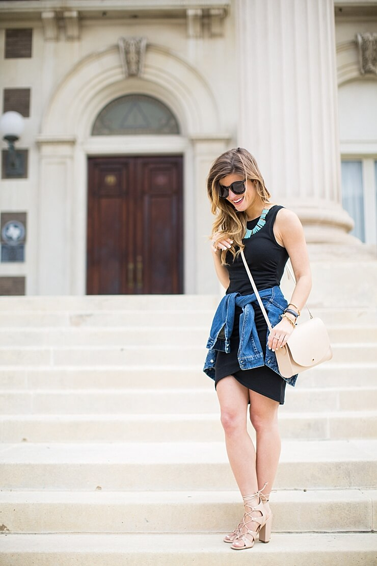 Without black bodycon dress with denim jacket model hiking house