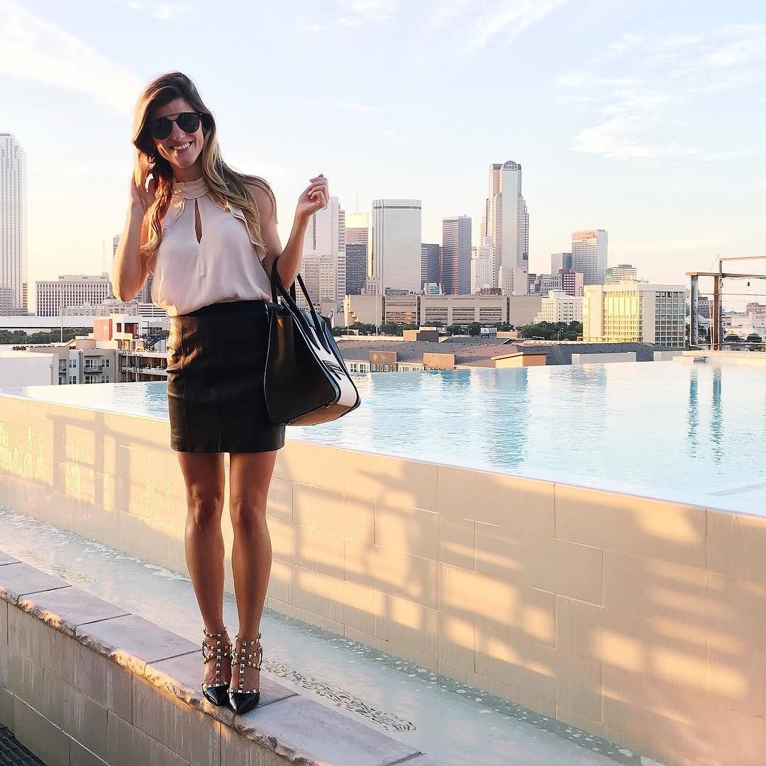 brighton the day at kendra scott event wearing leather skirt and white halter
