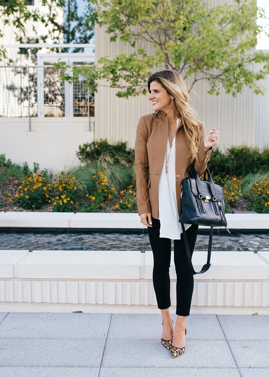 camel blazer + white tunic + black pants + leopard heel