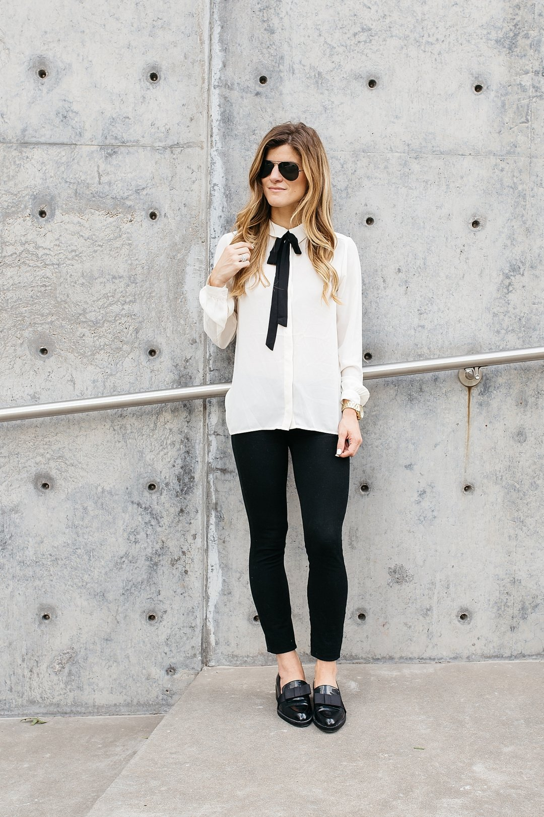 business casual outfit, what to wear to work, fall work outfit idea, office wear, work wear, outfit loafers, pussy bow blouse, summer work outfit idea, wear to work, off white blouse, black and white work outfit idea