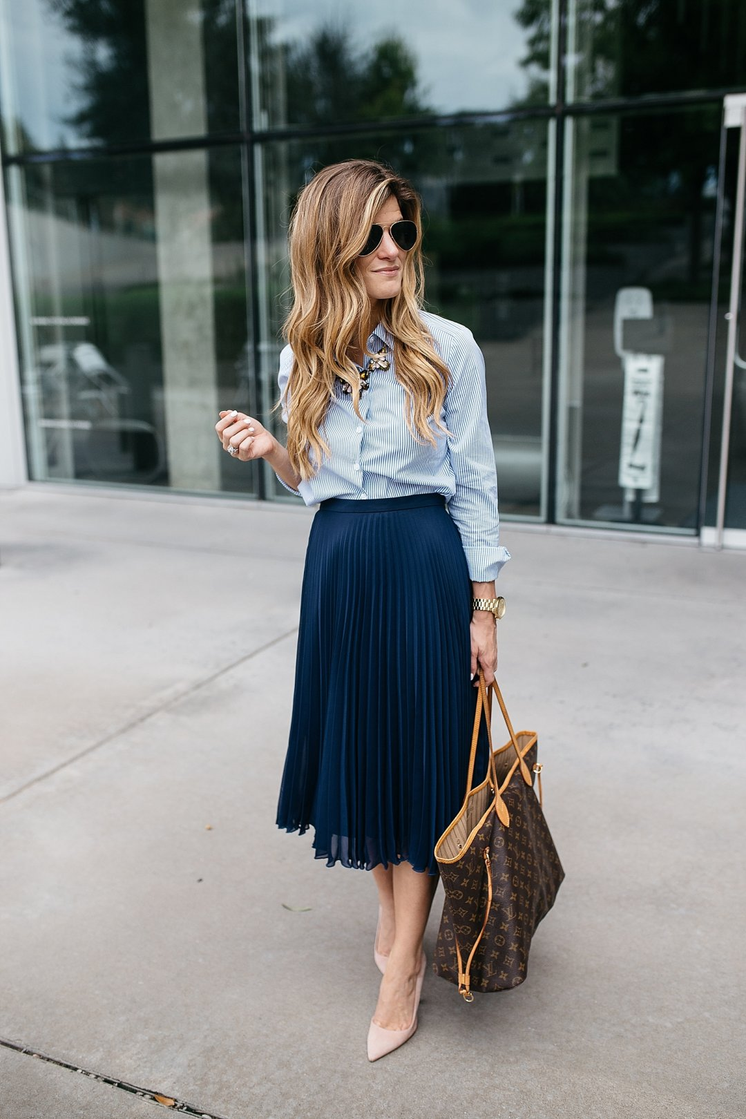 business casual outfit, business professional outfit idea, pleated midi skirt, navy and blush outfit, statement necklace