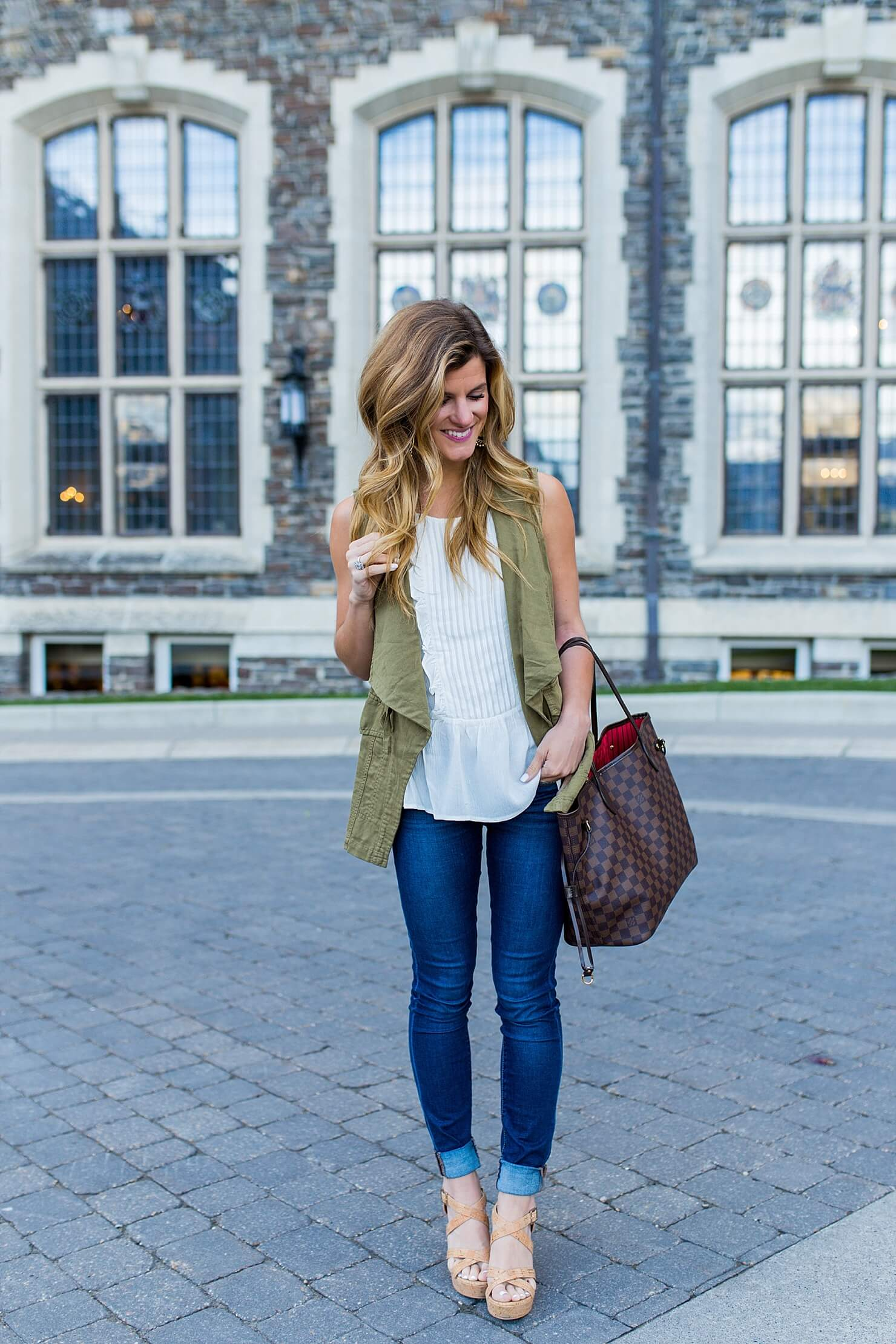 sleeveless blouse and utility vest in banff_-3