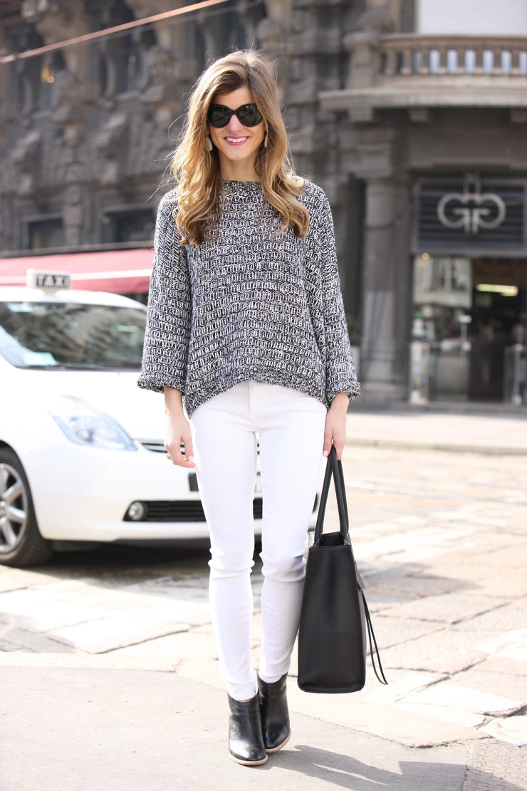 white jeans, black shoes, black tote, grey sweater
