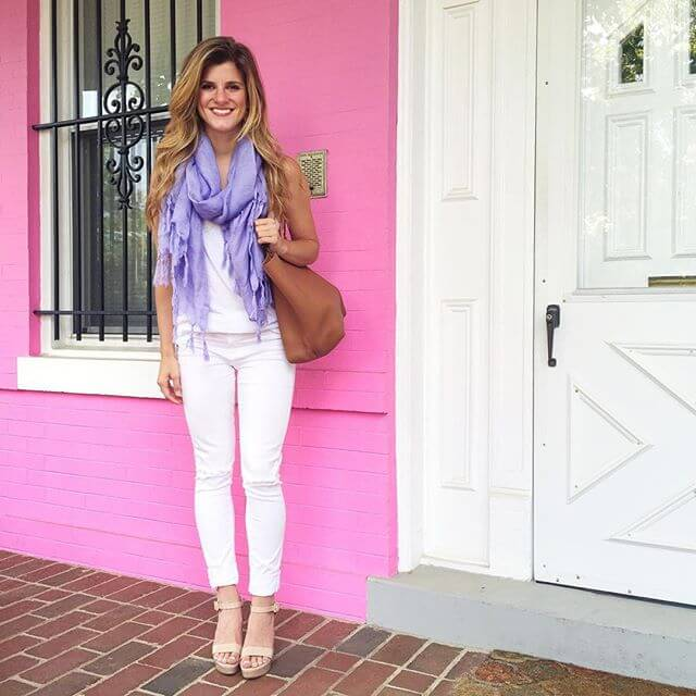 white jeans with white and a pop of color