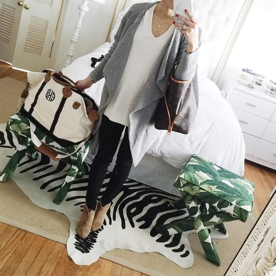 grey cardigan, black jeans, rag and bone suede booties, monogram overnight bag