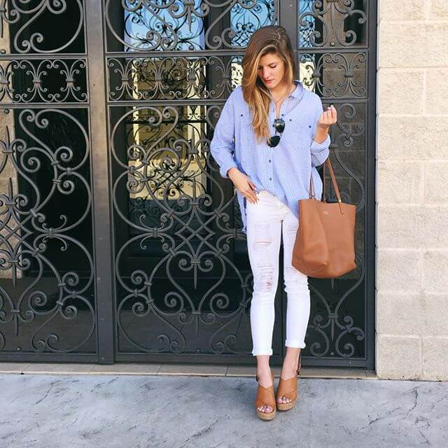 white jeans with neutral wedges
