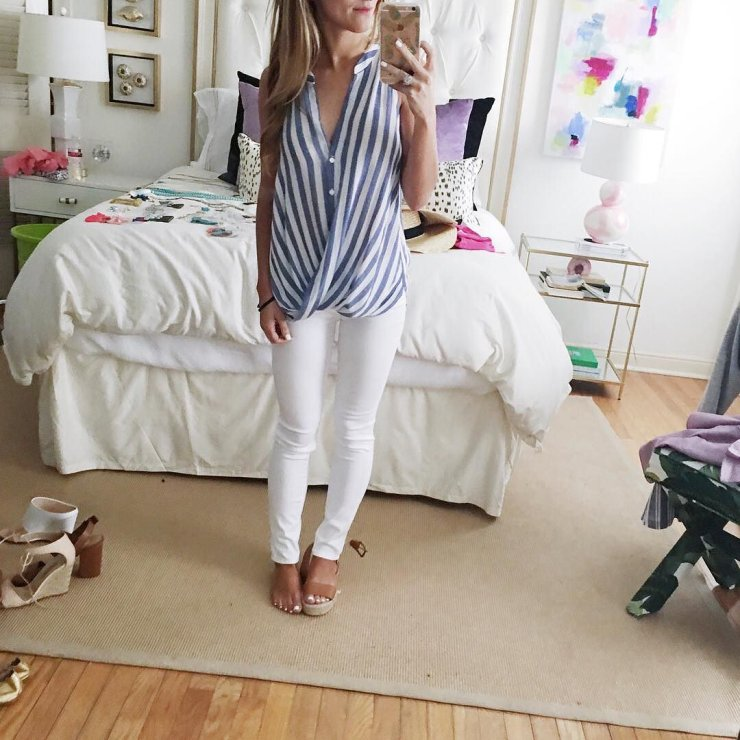 white jeans with blue and white striped top