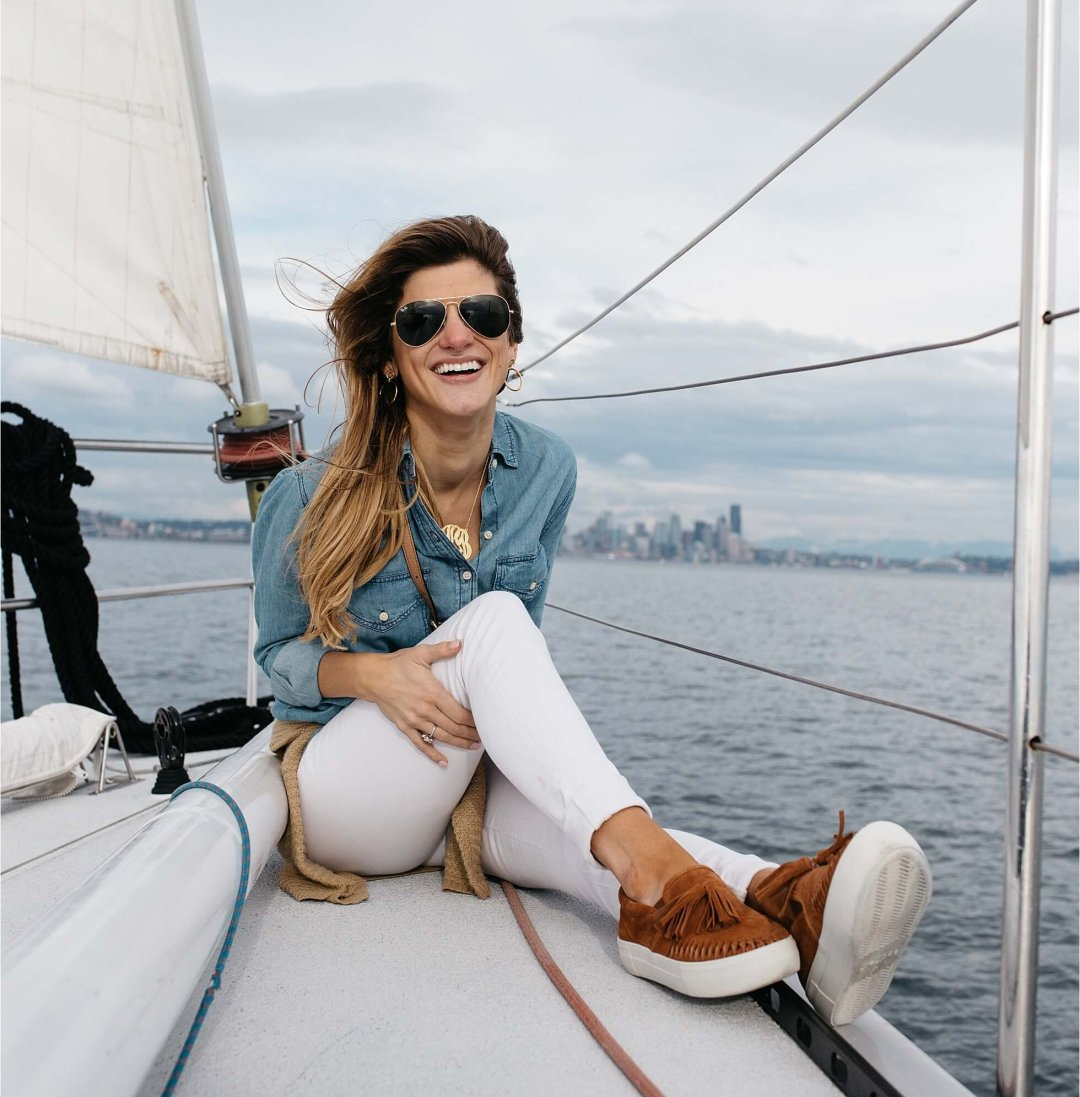sailing in Seattle with lets go sailing wearing white jeans, chambray shirt, Jslides cognac suede slip-ons, monogram necklace and aviators, sailing outfit, what to wear sailing in seattle in late august
