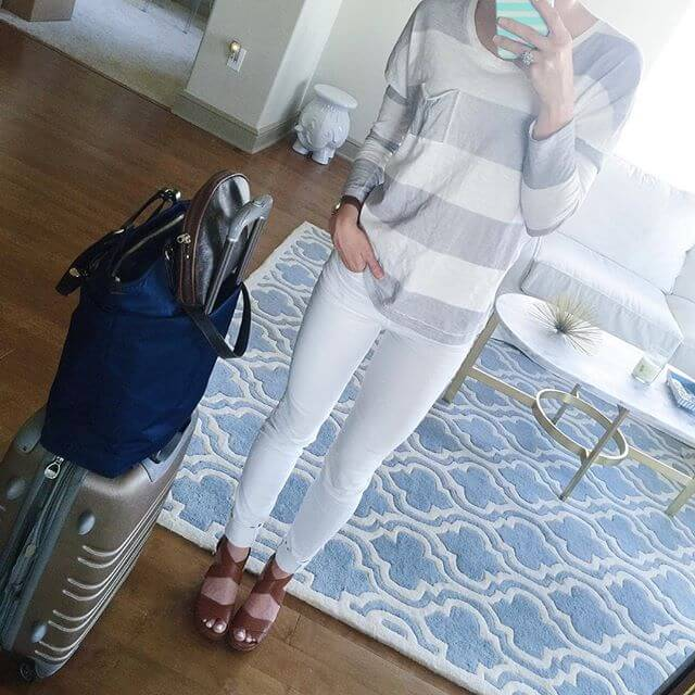 white jeans with grey and white stripes