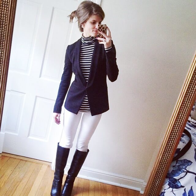 white jeans outfit, black riding boots, black blazer, striped turtleneck