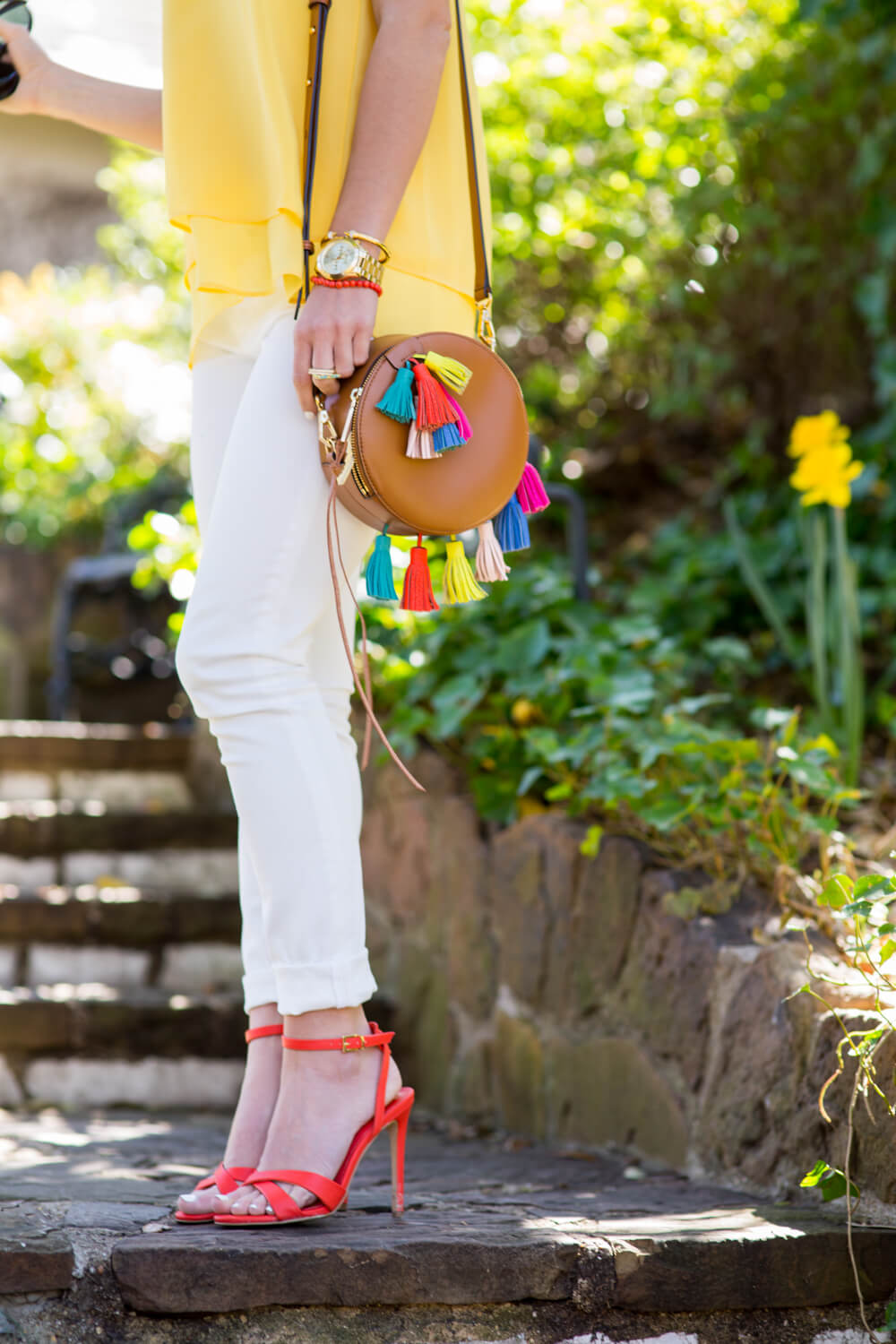 white jeans outfit, yellow sleeveless top, colorful rebecca minkoff bag, organge topshop shoes 15 copy