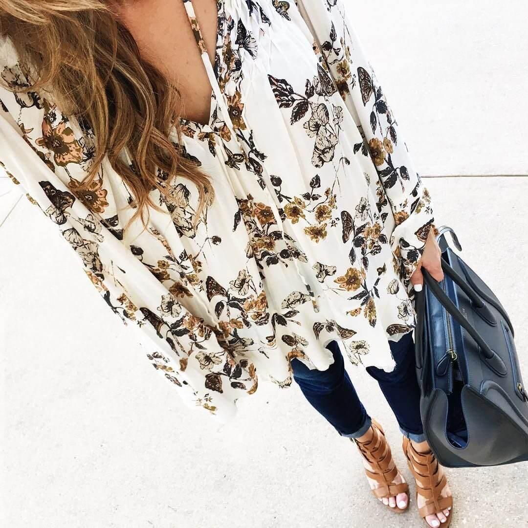 Brighton outfit closeup, floral top, celine bag, jeans