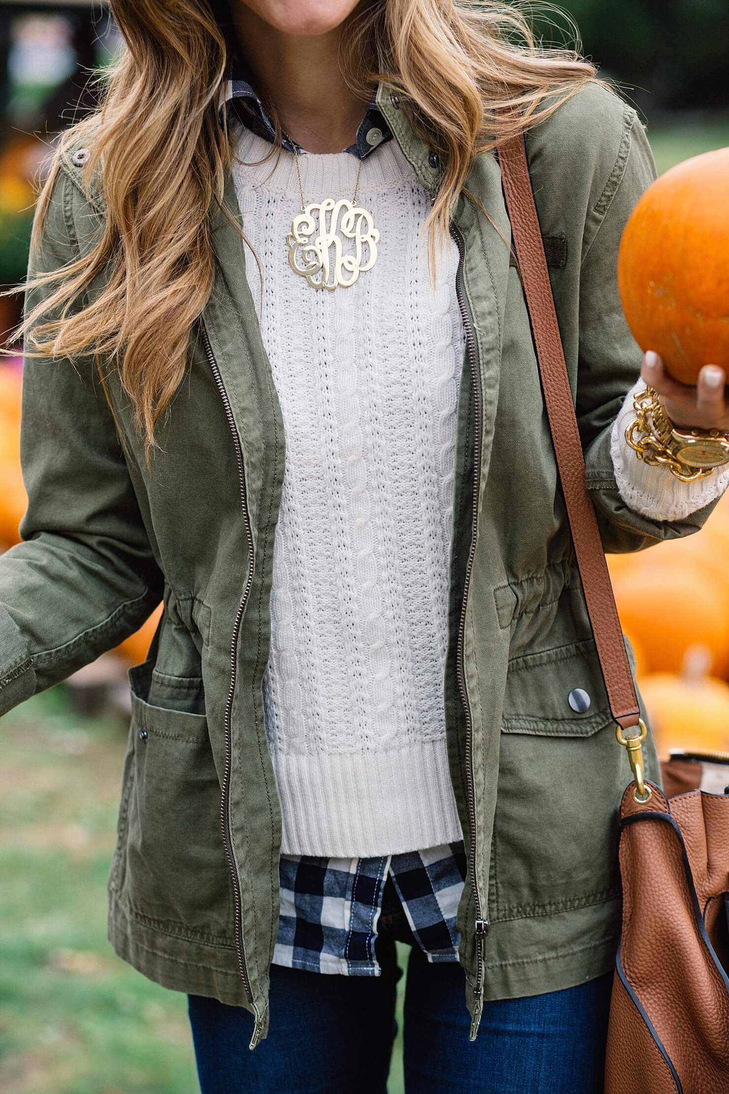 fall outfit details, layered cable knit sweater and gingham button up, oversized monogram necklace, at pumpkin patch, cute fall outfit details