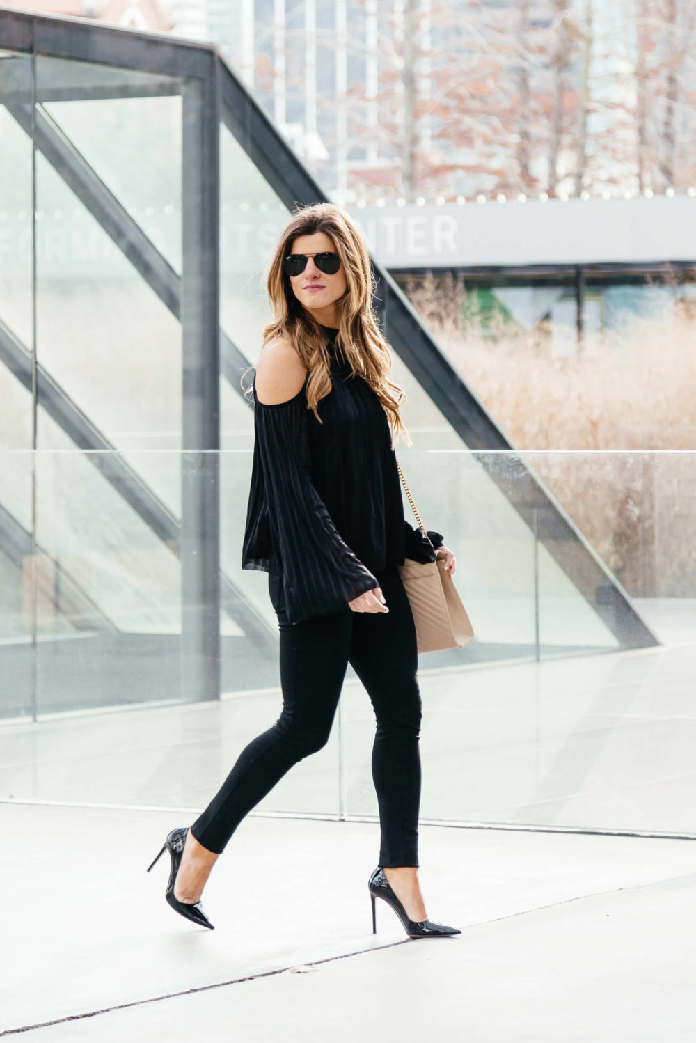 all black outfit with cold shoulder top, all black outfit