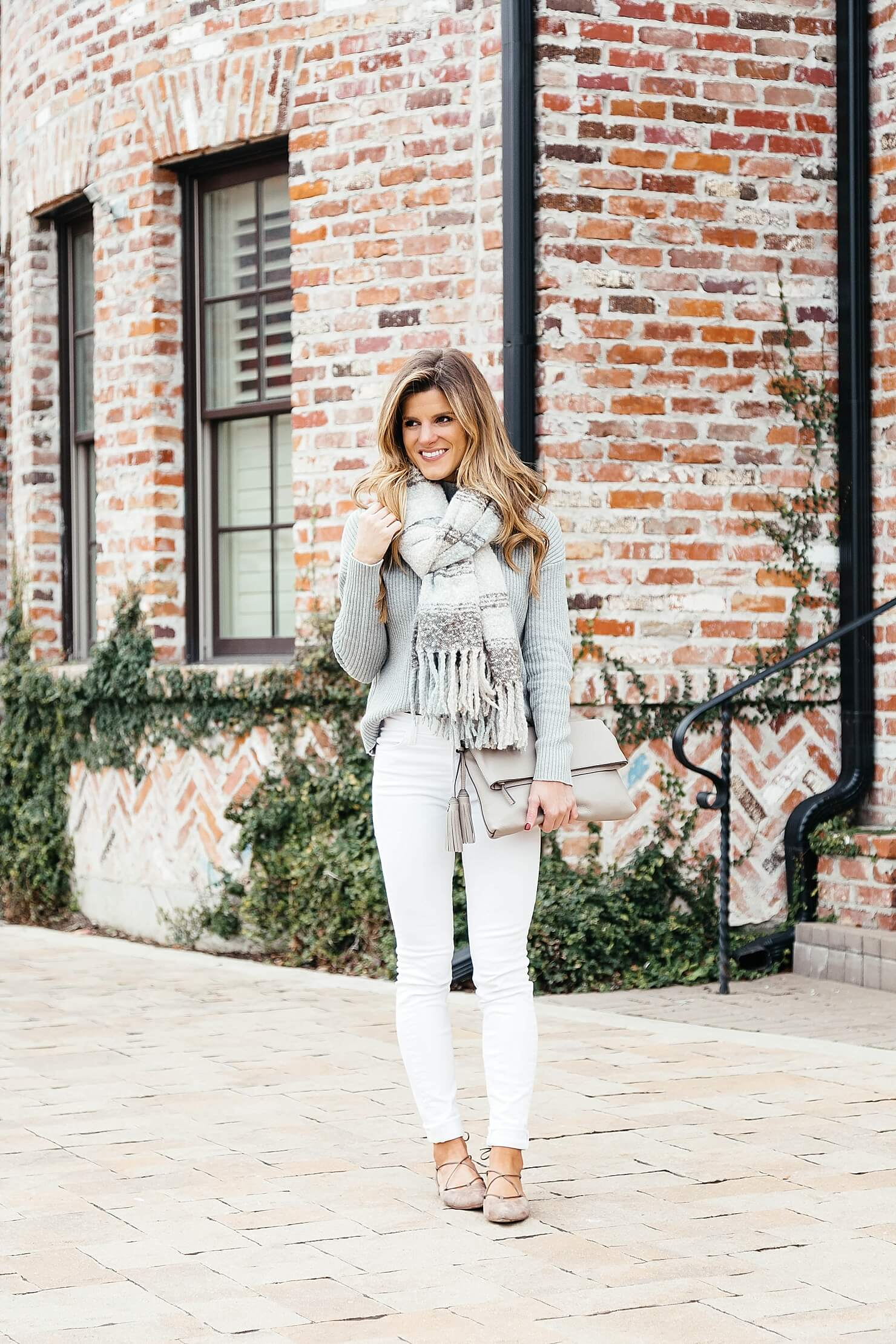 winter white outfit, white jeans, cozy scarf, neutral stripe free people scarf, stuart weitzman lace up flats