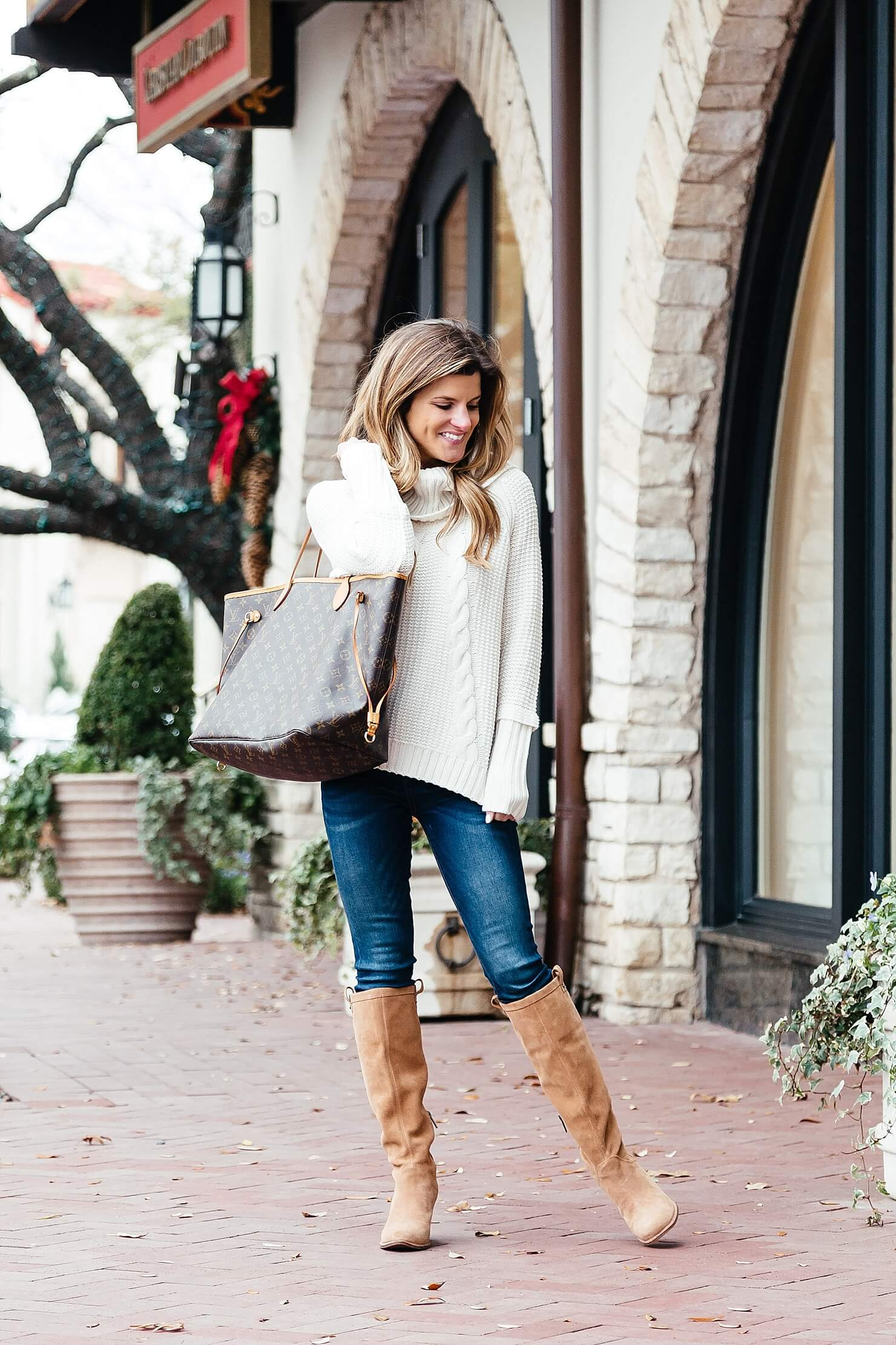 brighton the day ootd cowl neck sweater, jeans, slouch boots, lv tote