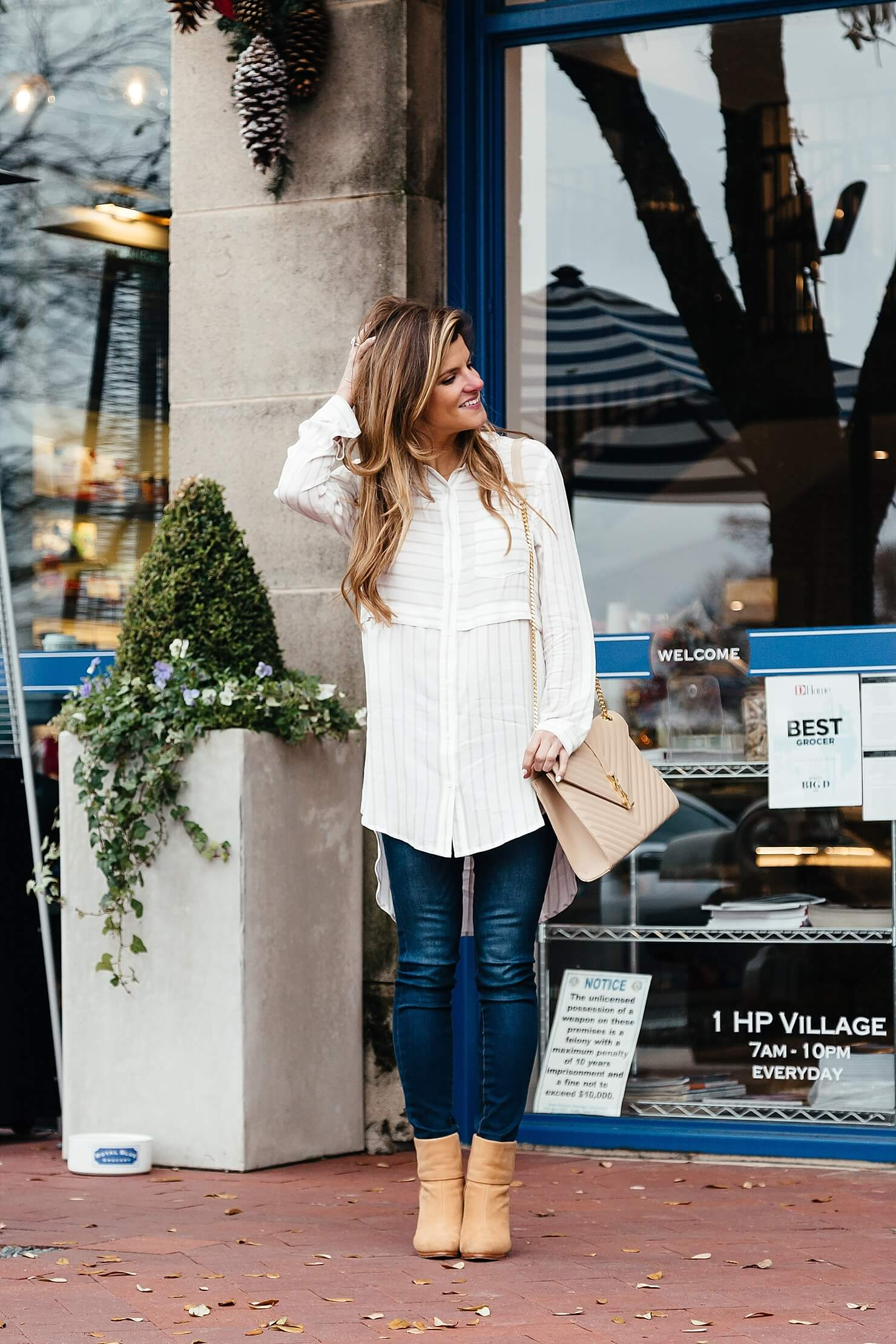 brighton the day button up tunic and jeans with brown booties