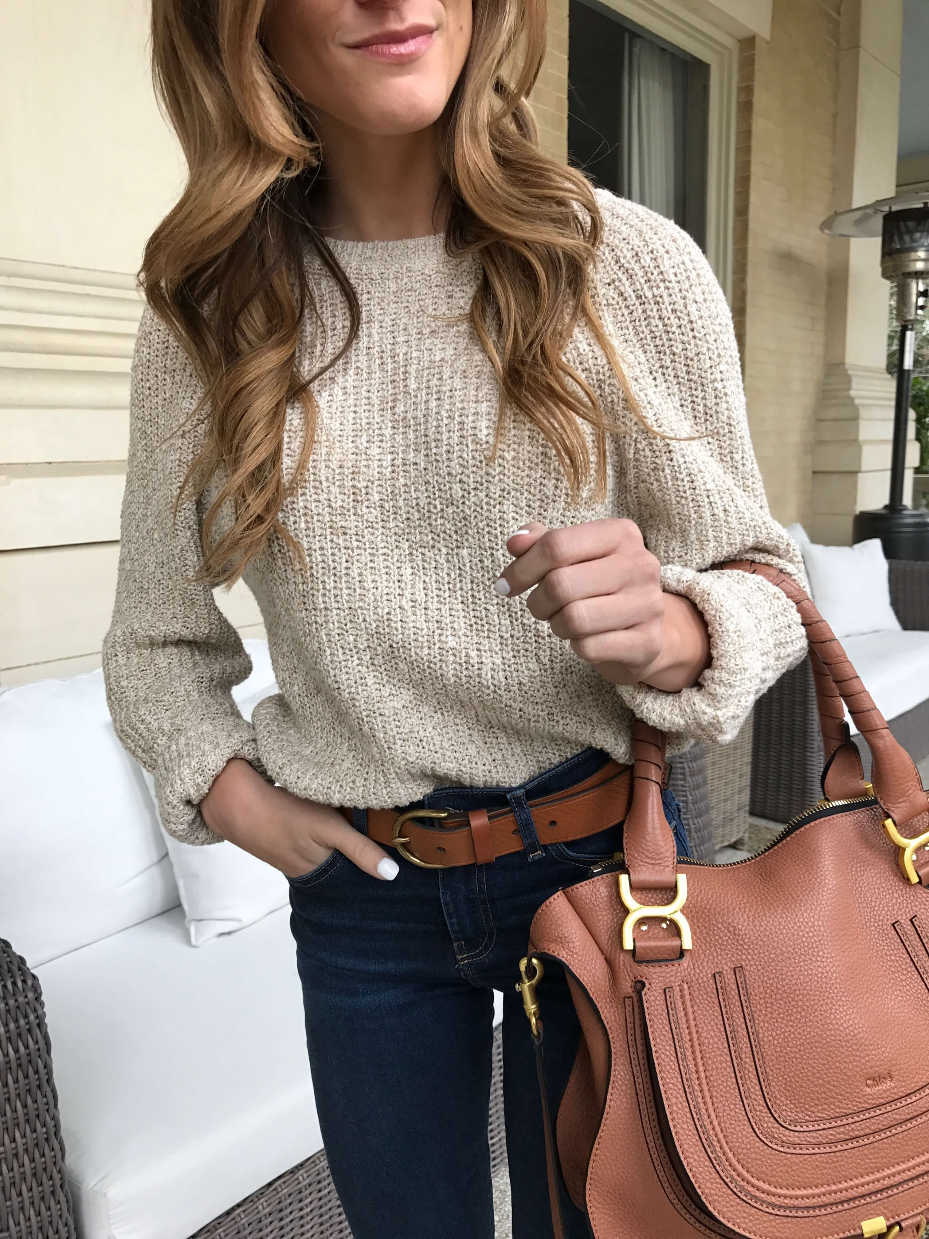 free people sweater 33% off, neutral sweater with cognac leather belt